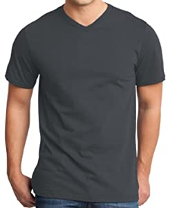 Yoga Clothing For You Mens Modern 100% Cotton V-neck Tee, 3XL Charcoal
