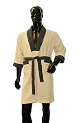Welhome by Welspun Cloudz Bathrobe Large Bathrobe - Ivory-Grey