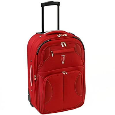 Azure Small 22 Inch Super Lightweight Expandable Suitcase (Red/Silver)