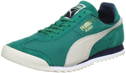 Puma Roma Slim Nylon Low Top Mens Green Grün (greenlake-white swan-midn 10) Size: 4 (37 EU)