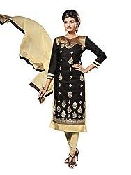 Craftliva Black Embroidery Chanderi Cotton Dress Material