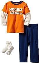 Bon Bebe Baby-boys Infant Mischief Maker 3 Piece Pant Set, Orange/Navy/Cream, 12 Months
