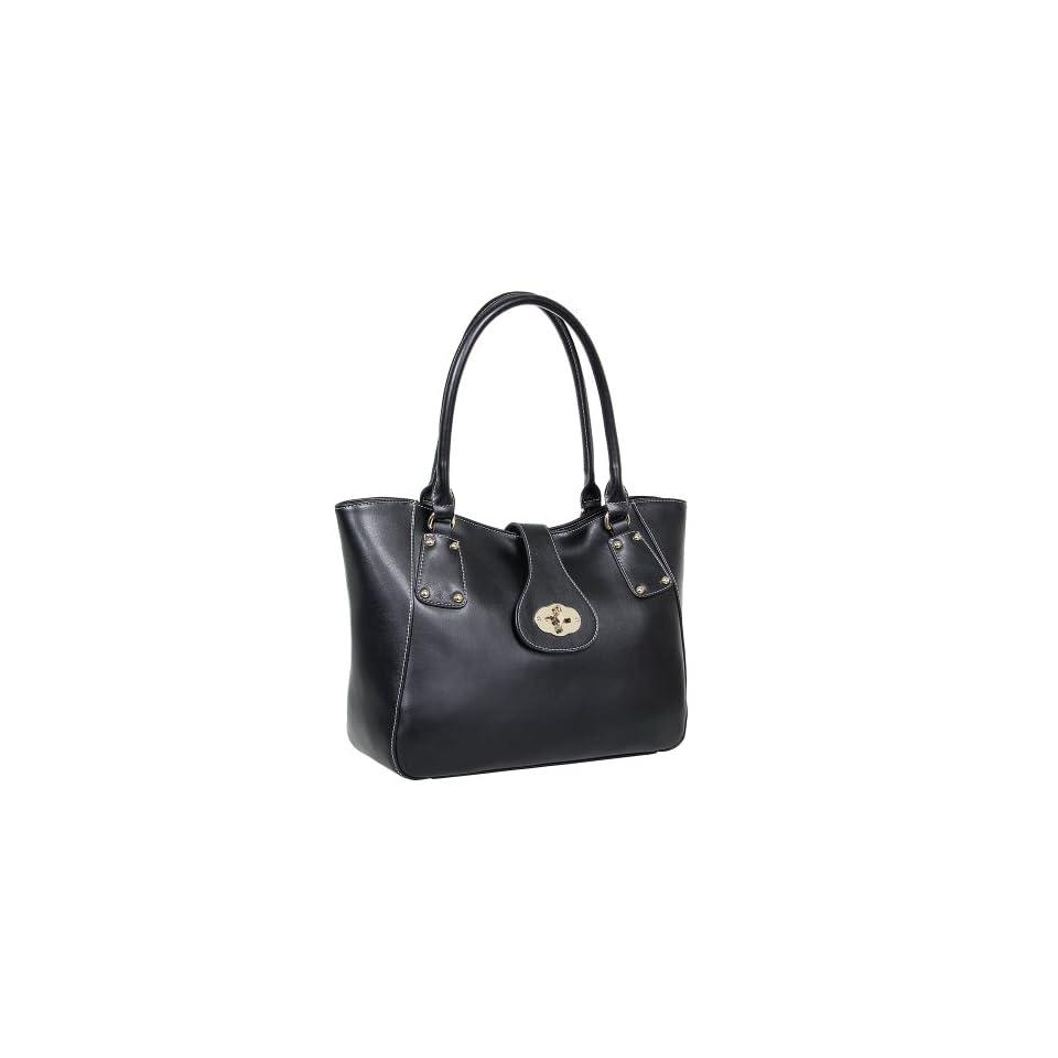 Fineplus Womens New Fashion High class Buckle Leather Hobo Handbag Black
