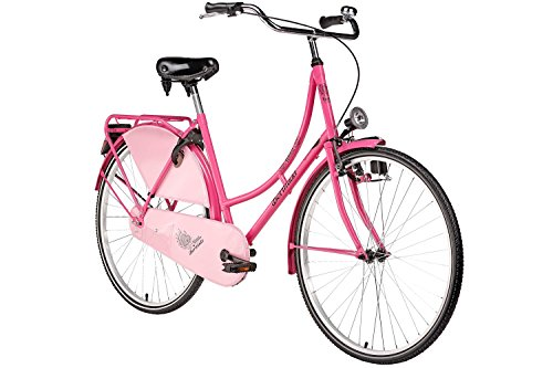 28'' Bermuda Hollandrad Damen Holland Fahrrad Citybike Valencia pink Beleuchtung Gepäckträger Rücktrittbremse
