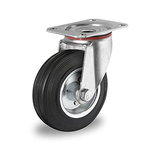 Lenkrolle-80-mm-Vollgummi-Stahlfelge