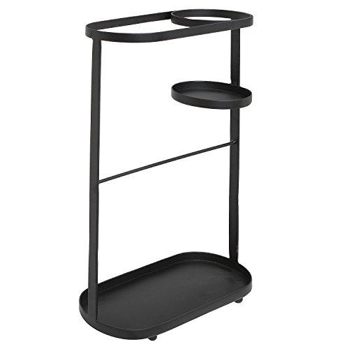 Entryway Freestanding Black Metal Long Umbrella & Short Folding Umbrella Holder Stand Rack - MyGift®