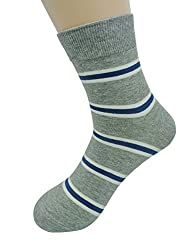 Milo Toe Mens 6-pack Cotton Crew Socks Color Stripe Patterned