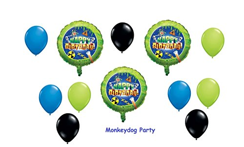 12pc MAD SCIENTIST party BALLOONS new BIRTHDAY 3 foils 9 latex NEW (Scientist Party Supplies compare prices)