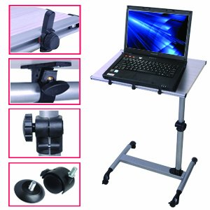 New Adjustable Sofa Food Tray Rolling Hospital Over Bed Laptop Table TV