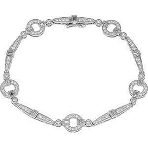 IceCarats Designer Jewelry 14K White Gold 1 5/8 Ctw Diamond Bracelet 7.00 Inch