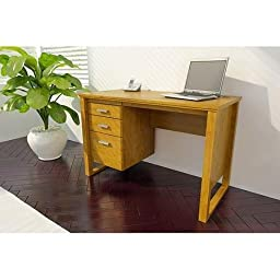 Single Pedestal 3-Drawer Desk, Alder with Brushed Nickel Hardware