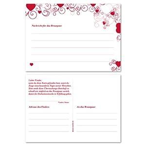 50 Flugkarten für Ballonwettfliegen zur Hochzeit, rot - Für einen schönen Ballonstart zur Hochzeitsfeier!