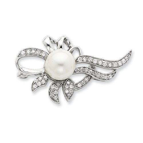 Sterling Silver Imitation Pearl and CZ Pin