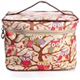 Owl Pattern Makeup Bag Travel Handbag Toiletry Case Cosmetic Bag Organizer (Beige)