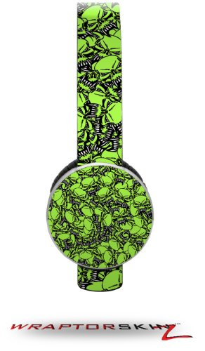 Scattered Skulls Neon Green Decal Style Skin (Fits Sol Republic Tracks Headphones - Headphones Not Included)