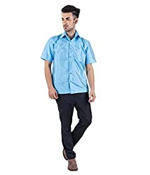 Warrior Men's Vibrant Sky Blue Art Silk Shirt