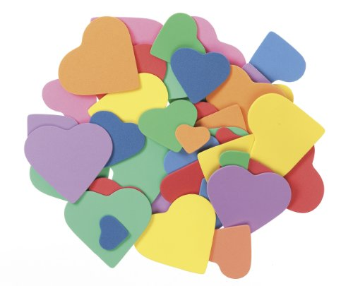 Darice 1031-96 Bucket of Foamies Shape Craft Supplies, Heart, 5-1/2-Ounce, Assorted
