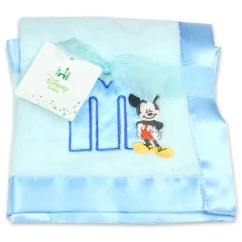 Disney Mickey Mouse Plush Satin Trim Baby Blanket, Blue