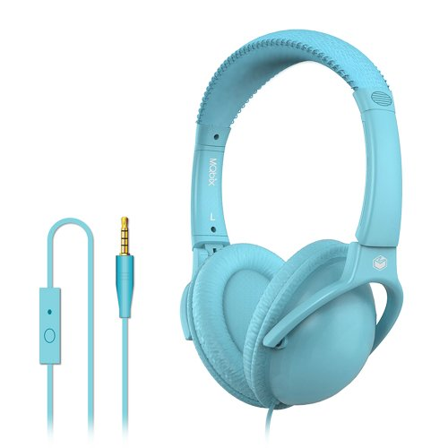 Mqbix Mqht560Blu Ear Foam Palette High Performance Headphones With Mic, Turquoise Blue