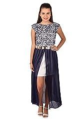 Vteens Off White & Navy Blue Maxi Dress (X-Large)