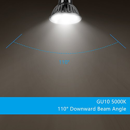 SHINE HAI GU10 LED Bulbs, 50W Halogen Bulbs Equivalent, 350lm, 3.5W MR16 GU10 Base LED Spotlight, 5000K Daylight White, Non-Dimmable, 110° Beam Angle, LED Light Bulbs, 6-Pack