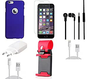 NIROSHA Tempered Glass Screen Guard Cover Case Charger Headphone USB Cable Mobile Holder for Apple iPhone 6 - Combo