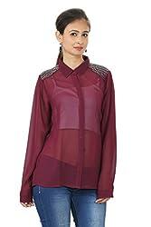 Embellished Maroon Chiffon Shirt