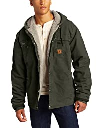 Carhartt Men\'s Big & Tall Sherpa Lined Sandstone Hooded Multi Pocket Jacket J284,Moss,XXXX-Large