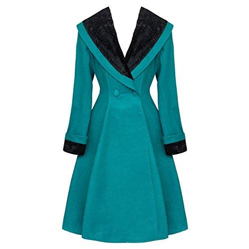 Hell Bunny - cappotto Vivien - turchese blu 50 anni pelliccia collo