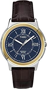 Timex T2P521GP Men's Dress Blue Dial and Black Leather Strap Wrist Watch