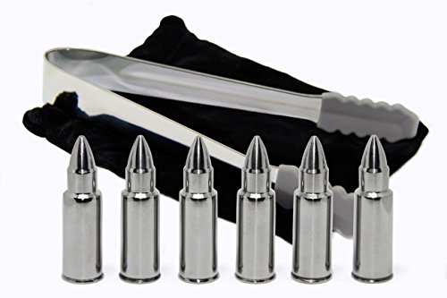 Whiskey Stones - Bullet Shaped Stainless Steel Chilling Rocks Gift Set of 6 with Tongs and Storage Bag, Drink Cooling Ice Cubes - Chilll Shots by BROTEC (Alternative Rock Gifts compare prices)