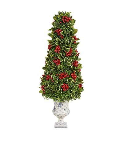 Holly Berry Vase Cone Topiary, Red/Green