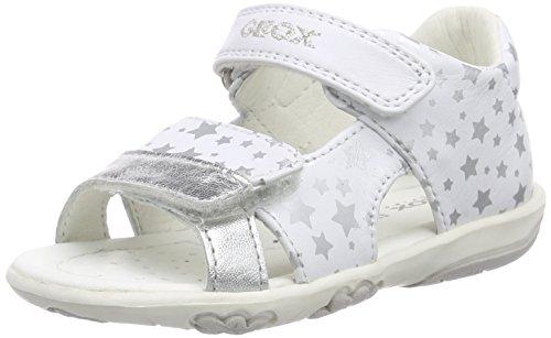 Geox B Sandal Nicely B Scarpe Walking Baby, Bambina, Bianco (White/Silver), 24