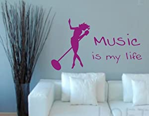 Music Is My Life Singer Decal Sticker Wall Art Sing Rock Star Microphone