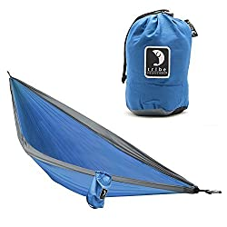 Single Person Adventure Hammock made of Rip-stop Nylon by Tribe Provisions - Includes carabiners and lashing cables Blue