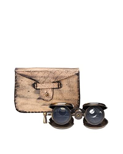 A. Sanoma Inc. Brass Binoculars with Leather Case, Antique Brass/Brown