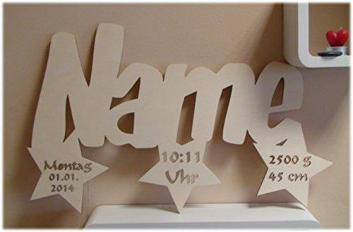 """Schlummerlicht24 Nachtlicht """"3 Sterne"""", Geschenk mit individuellem Namen, ideal als Geburts- oder Taufgeschenk für das Kinderzimmer, handgemacht"""