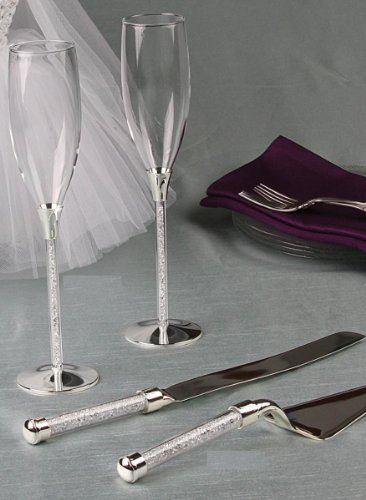Raebella Personalized Crystal Filled Stemmed Toasting Flutes And Cake & Knife Server Set back-920577