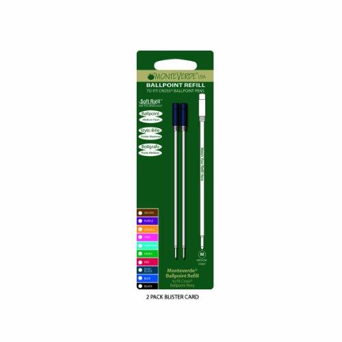 Monteverde: 2 Recharges Bille Soft Roll Bleu-Noir Compatible Cross, Pointe: M, Livrées en Blister.