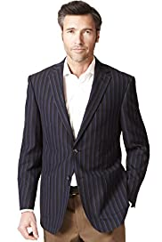 Luxury Sartorial 2 Button Striped Jacket with Wool