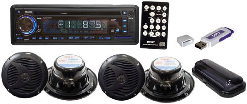 Pyle PLMRKIT109 Complete Marine Water Proof 4 Speaker CD/USB/MP3/Combo 6.5-InchSpeakers with Stereo Cover and  USB Drive (Black)