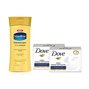 Vaseline Intensive Care Deep Restore Body Lotion, 300ml with Free Dove Cream Beauty Bathing Bar, 2x75g