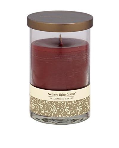 Northern Lights 20-Oz. Glass Pillar Candle, Sparkling Cranberry