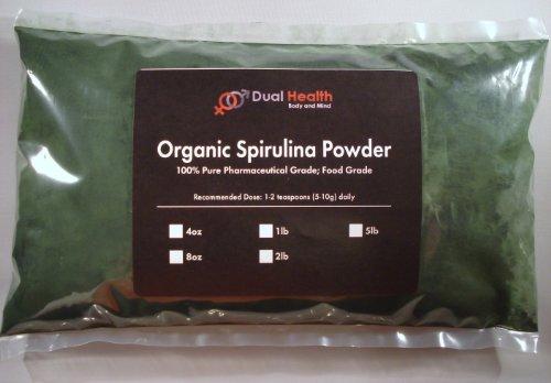5 Lb. Organic Spirulina Powder (2.27Kg) Weight Loss Diet Fat Burner Energy Kosher Protein Algae #1 Supplement Usp & Fcc Food Grade By Dual Health