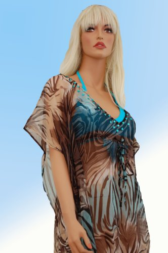 Tamari Aqua Waves Zebra Print Kaftan Beach Cover Up Dress For Women One Size UK 10, 12, 14