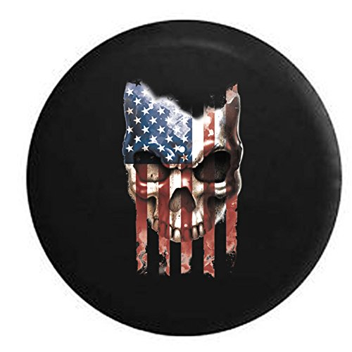 American Flag Vintage Skull Military US Army Navy USMC Spare Tire Cover Black 35 in (Jeep Wrangler Safari Tire Cover compare prices)