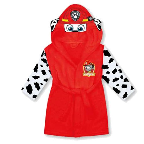 paw-patrol-marshall-bambini-accappatoio-in-pile-con-cappuccio-rosso-red-2-3-years