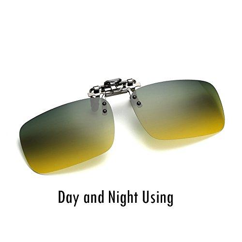 Cyxus lenti polarizzate a specchio classico occhiali da sole clip-on prescrizione Occhiali Protezione UV [Anti-Glare] [] guida/Pesca Eyewear, Uomo E Donna, Day and Night Using, Square