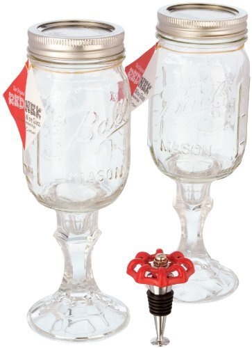 Carson Home Accents 3-Piece Original Rednek Gift Set, Includes 2 Rednek Wine Glasses and Faucet Wine Stopper