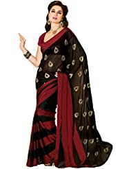 Indusdiva Black And Maroon Chiffon Saree